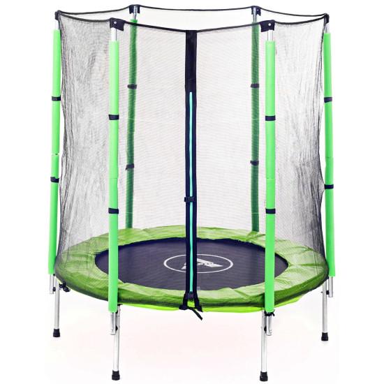 Батут  Atleto 140 см с сеткой зеленый - фото №1