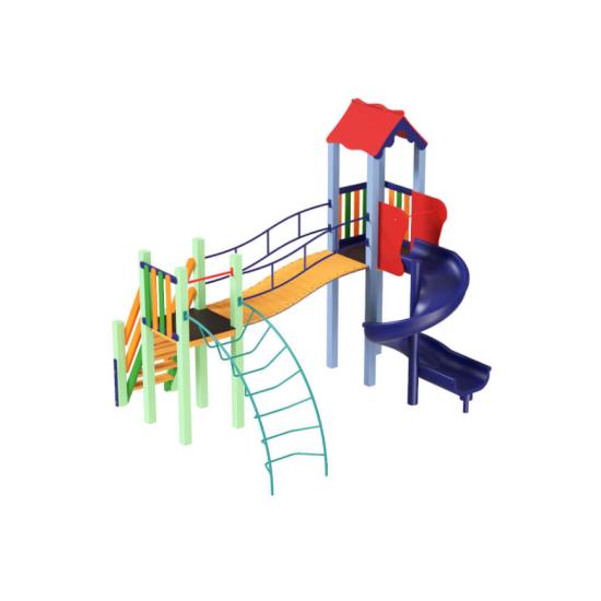 Детский игровой комплекс  Kidigo Месяц с пластиковой горкой Спираль - фото №1
