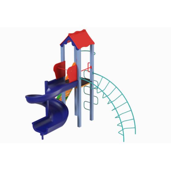 Детский игровой комплекс  Kidigo  Петушок с пластиковой горкой Спираль - фото №1