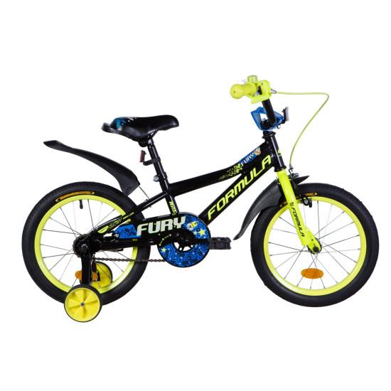 """Велосипед  Formula Fury 16"""" 2021  (оранжево-черный с салатовым) - фото №1"""