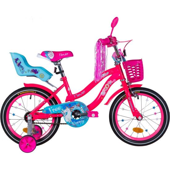 """Велосипед  Formula Flower Premium 16"""" 2021  (розовый с голубым) - фото №1"""