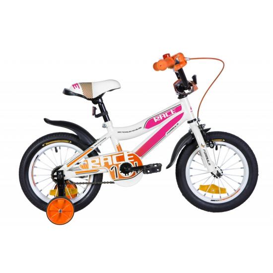 """Велосипед  Formula Race 14"""" 2021 (бело-сиреневый с оранжевым) - фото №1"""
