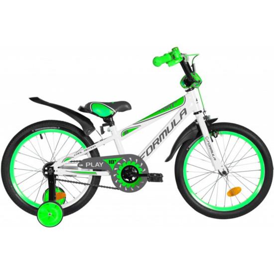 """Велосипед  Formula Sport 18"""" 2021 (бело-зеленый с серым) - фото №1"""