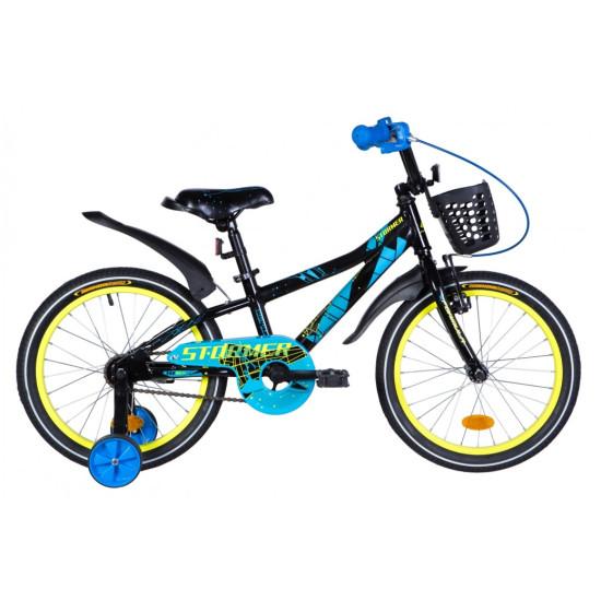 """Велосипед  Formula Stormer 18"""" 2021 (черно-синий с желтым) - фото №1"""
